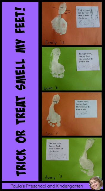 Trick or Treat, Smell my Feet!  Halloween writing activity from Paula's Preschool and Kindergarten