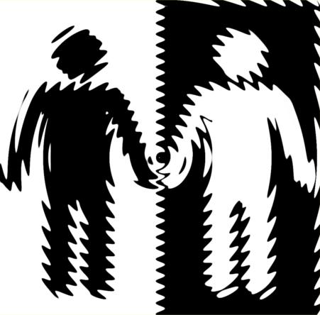 Illusztráció gyerekvershez, Ulánbátor és Ulángyáva állnak egy ábrán, egymás kezét fogva, fekete-fehérben, egyikük nagyon gyáva, másikuk nagyon bátor.
