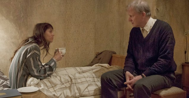 Stellan Skarsgård as Seligman, Charlotte Gainsbourg as middle-aged Joe in Nymphomaniac, Directed by Lars von Trier