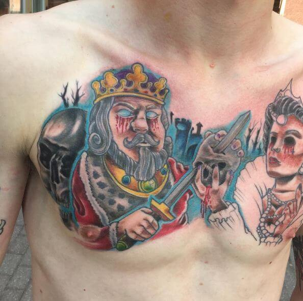 King And Queen Tattoos On Chest