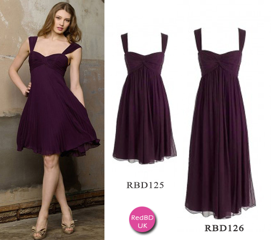 Chiffon Sweetheart with Shoulder Straps Gather Bodice Empire  Bridesmaid Dress