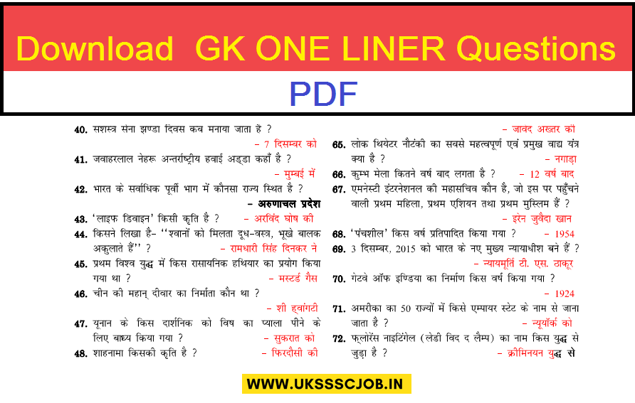 download important gs one liner question answers hindi pdf
