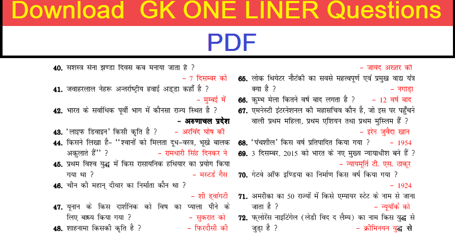 download important gs one liner question answers hindi. Black Bedroom Furniture Sets. Home Design Ideas