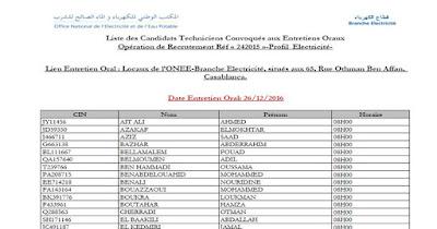 Liste des Candidats Techniciens Convoqués aux Entretiens Oraux Opération de Recrutement Réf « 242015 »-Profil Electricité-