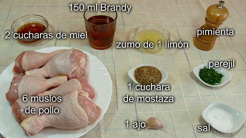 Pollo asado a la miel y mostaza. Ingredientes