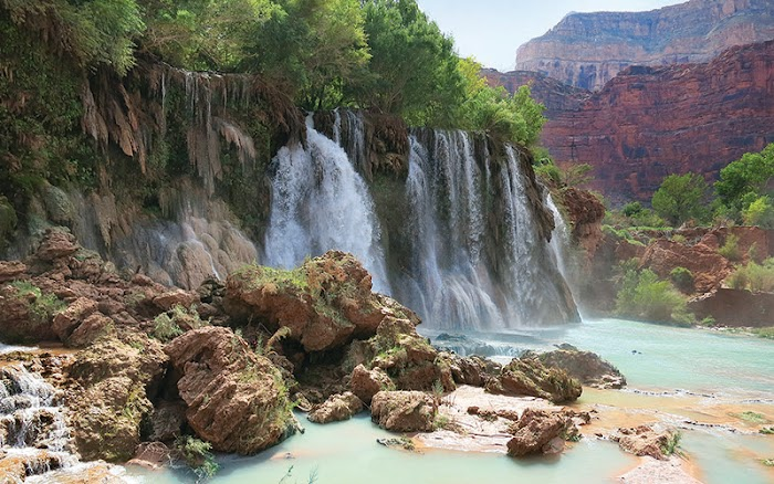 Fifty Foot Falls is located about 8.5 miles from the trailhead and a mile or so past Supai village