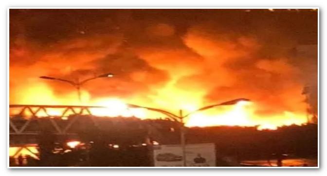 عاجل …حريق مهول بالقرب من محطة ولاد زيان بالدار البيضاء