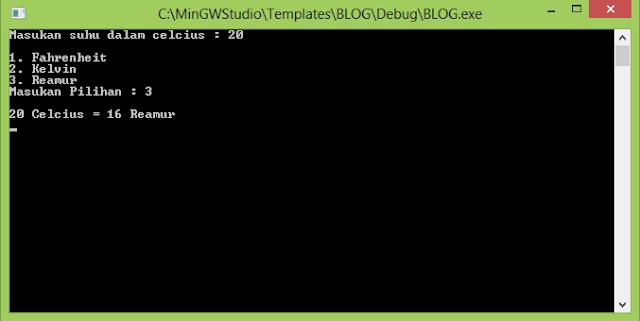 C++ Konversi Suhu Celcius to Reamur