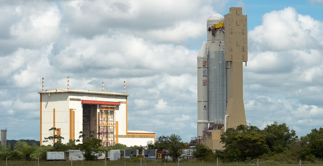 The Ariane 5 during its transfer from the Spaceport's Launcher Integration Building to the Final Assembly Building on Aug. 3. Photo Credit: Arianespace