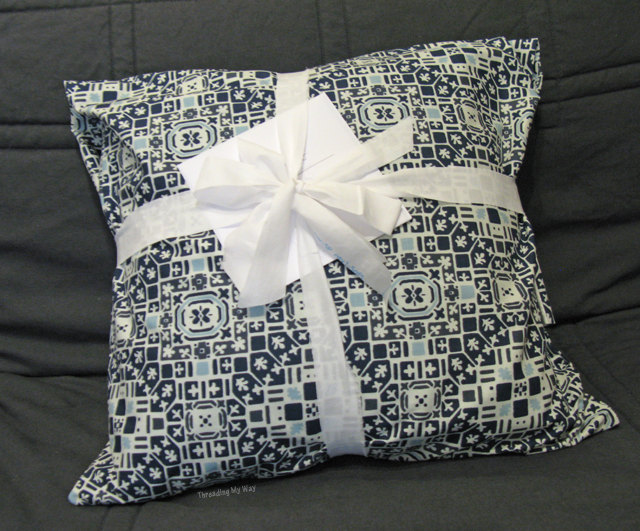 Creative Gift Wrapping Ideas... pillowcases and scrappy ribbon bows ~ Threading My Way