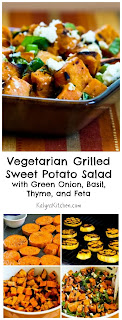 Vegetarian Grilled Sweet Potato Salad with Green Onion, Basil, Thyme, and Feta [from KalynsKitchen.com]