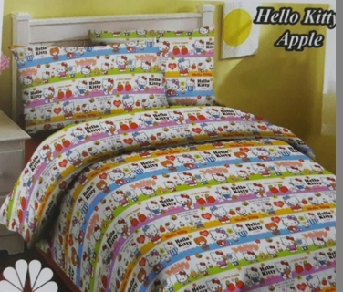 sprei Hello Kitty Apple bahan fortun