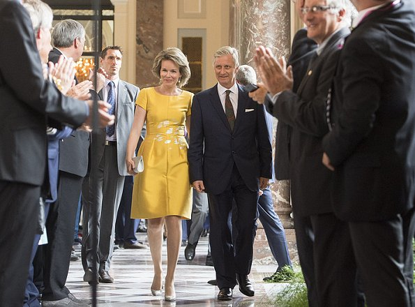 Queen Mathilde and King Philippe of Belgium hosted a reception at the Royal castle. Queen wore Natan dress