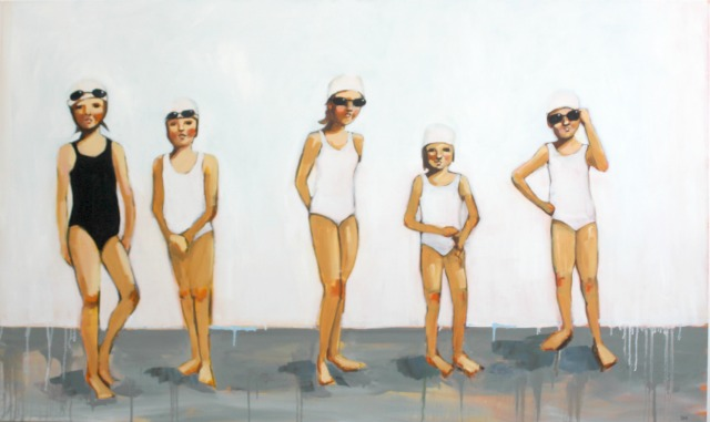 painting of swimmers, bathing caps, black and white