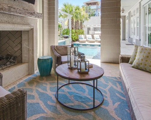 Coastal Coral nch Rugs Decor Ideas for Indoors & Outdoors ... on florida backyard deck, florida backyard pools, florida backyard landscaping ideas,
