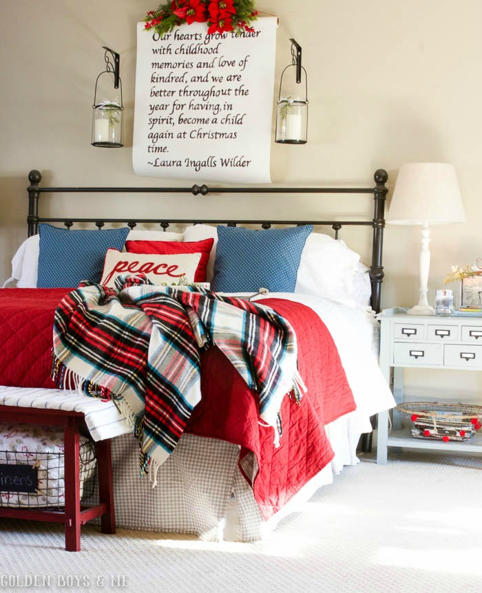 DIY scroll over Christmas bed with plaid accents