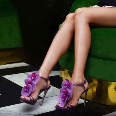 Alzuarr Purple stiletto heeled sandals with orchid embellishment