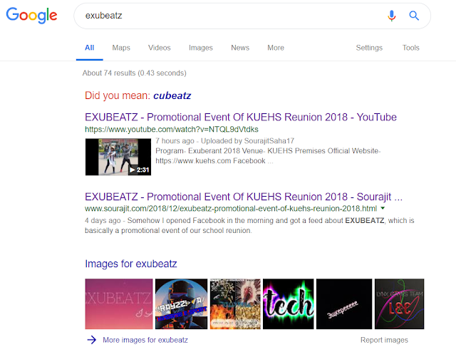 EXUBEATZ - Promotional Event Of nEXus'18 In Google Search