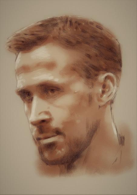 Ryan Gosling high resolution digital drawing portrait