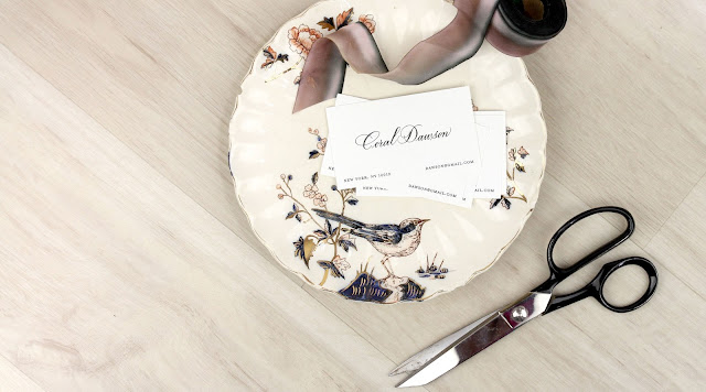 calligraphy calling card on bird plate