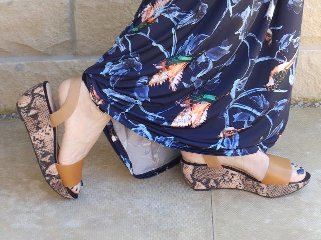 Clarks snake print wedge sandals