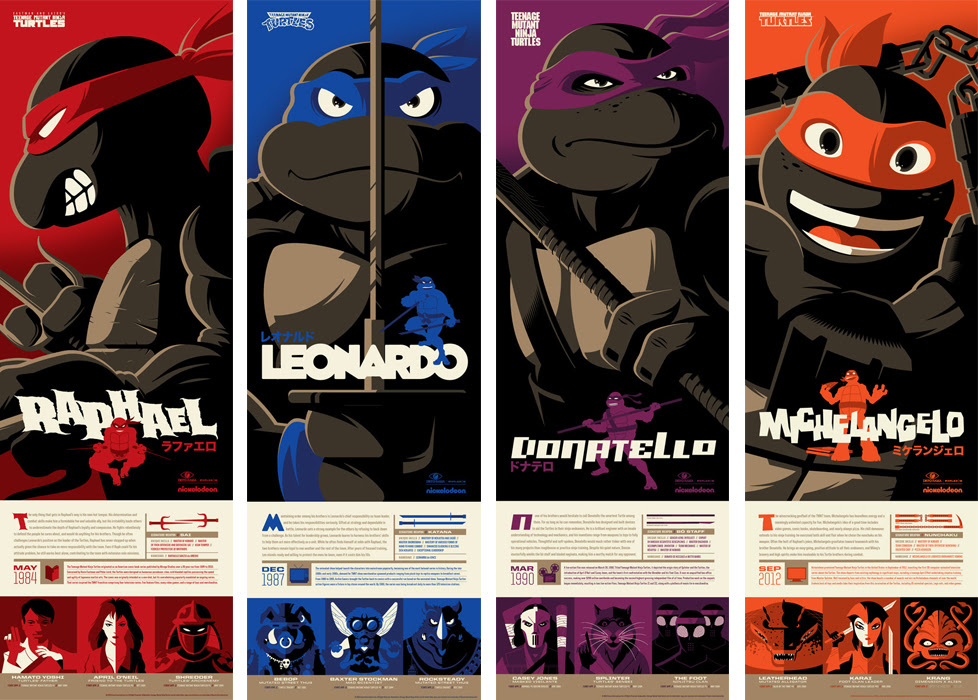 b75bf6937c TMNT Screen Prints by Tom Whalen x Mondo - Leonard, Donatello, Raphael and  Michelangelo