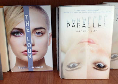 Two different book covers, both with supermodel-looking white women's faces divided in half