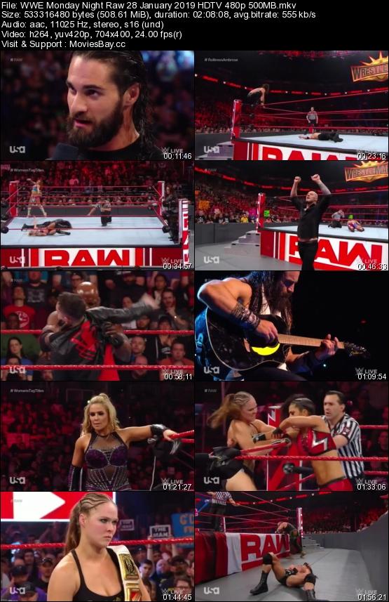 Screen Shoot of WWE Monday Night Raw 28 January 2019 HDTV 480p 500MB
