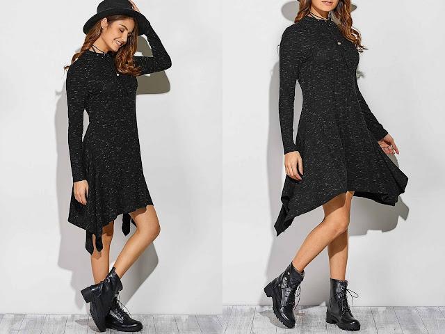 Ribbed Asymmetrical Long Sleeve Skater Sweater Dress