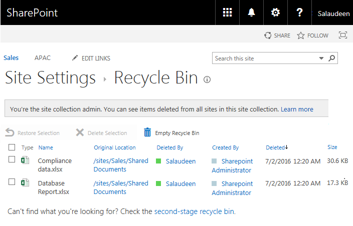 sharepoint online  search recycle bin using powershell