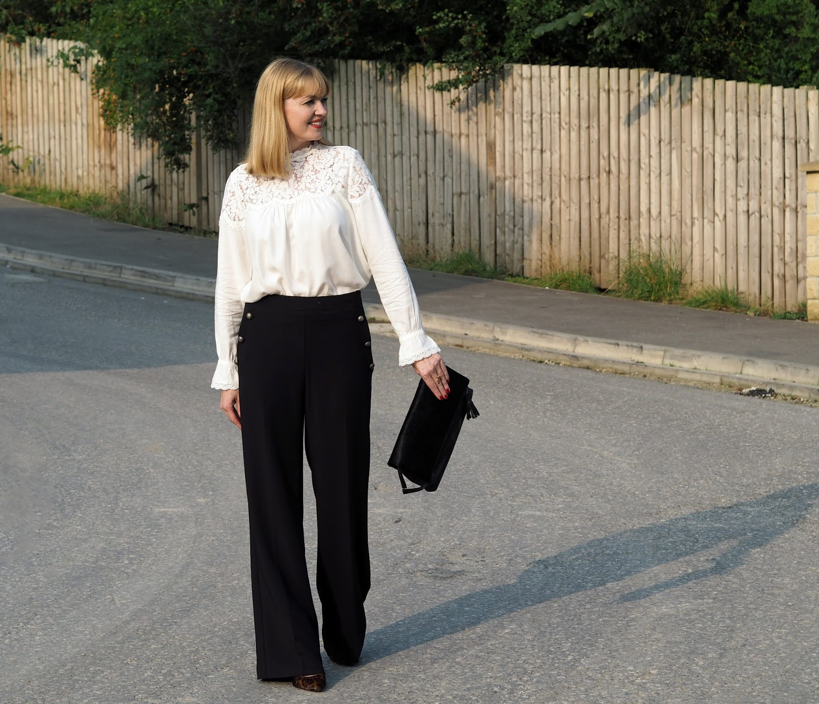 Marks and Spencer romantic lace Victoriana blouse with wide-legged trousers