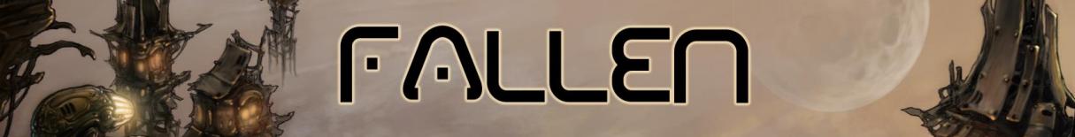 Las letras Fallen sobre un fondo en el que hay unas casas metálicas