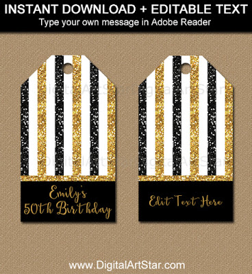 50th birthday thank you tags - black and gold glitter