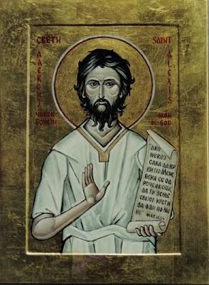 Icono de San Alejo con pergamino y con una mano al frente deteniendo el mal