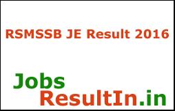 RSMSSB JE Result 2016
