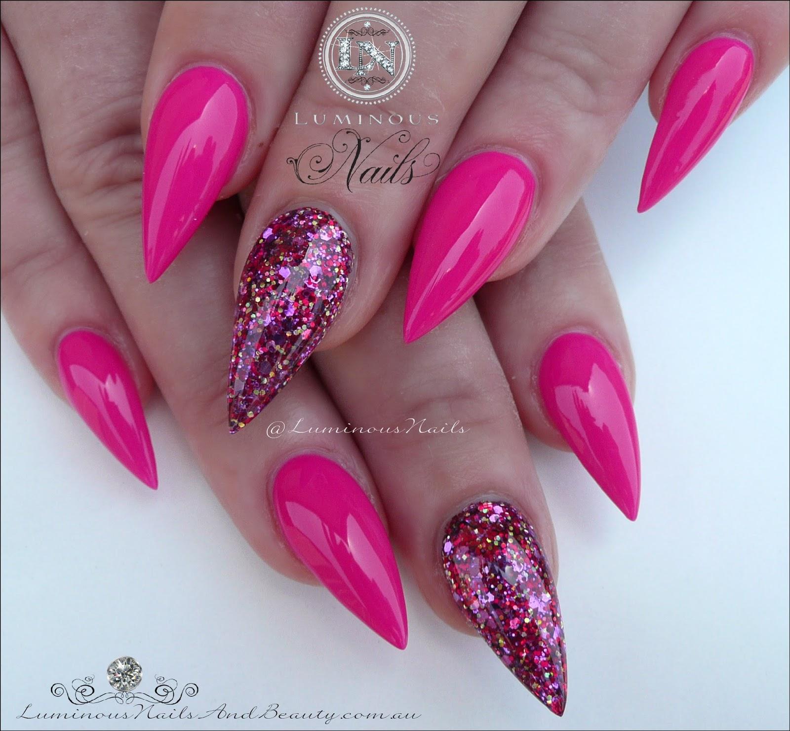 Luminous Nails: Fuchsia Acrylic Nails.