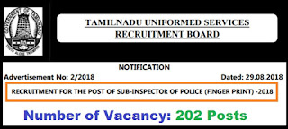 TNUSRB Sub-Inspector (202 Posts) Vacancy Notification 29.08.2018