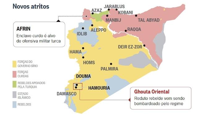 areas controladas na síria, divisão de forças na síria
