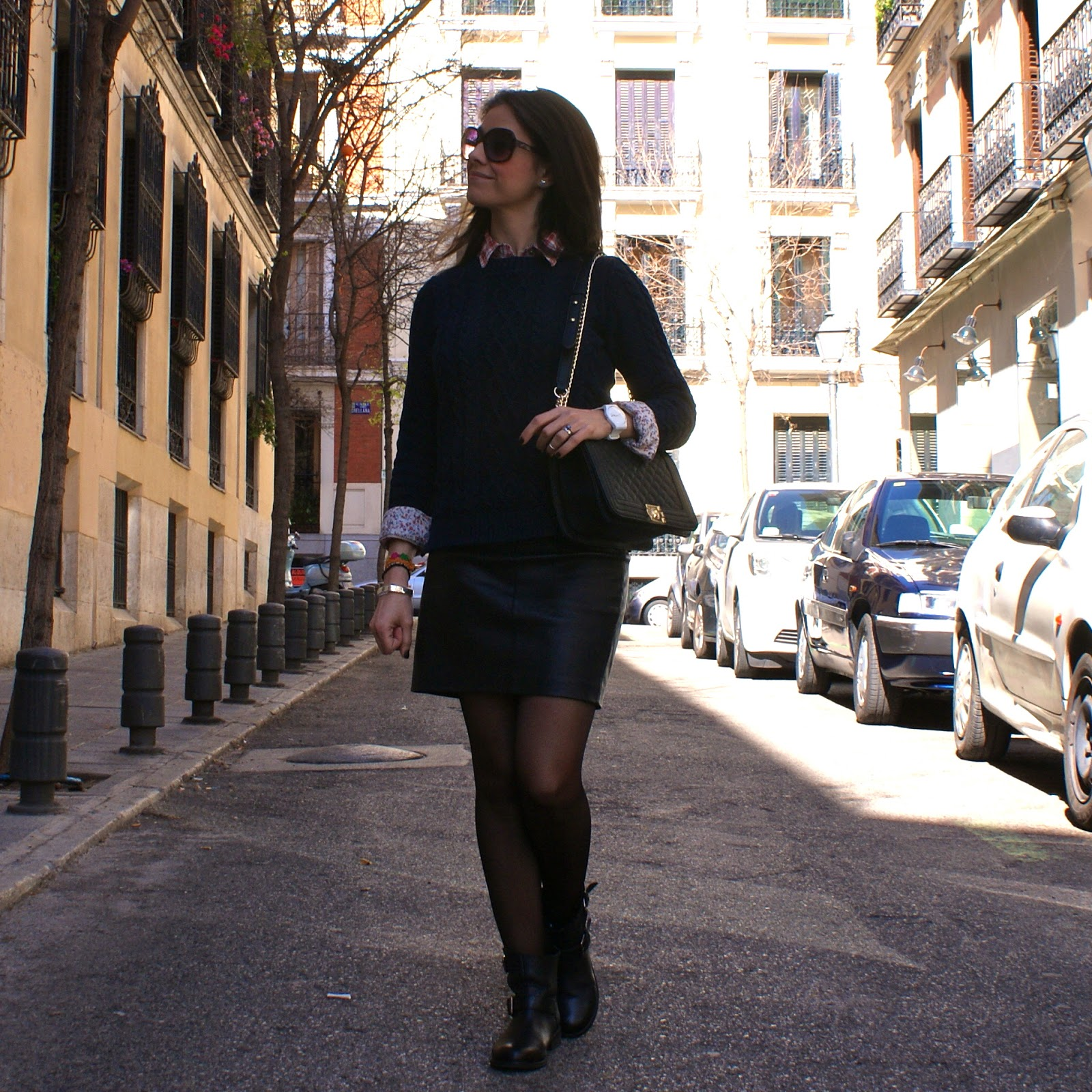 LaCaprichossa-fashion-blogger-leather-skirt-biker-boots-boy-bag-swatch-cruciani-bracelets