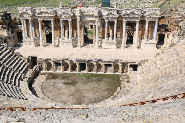 The theatre was used into late Roman times dating to AD 352 and the spectators were divided accordingly to the social class at Hierapolis in Pamukkale, Turkey