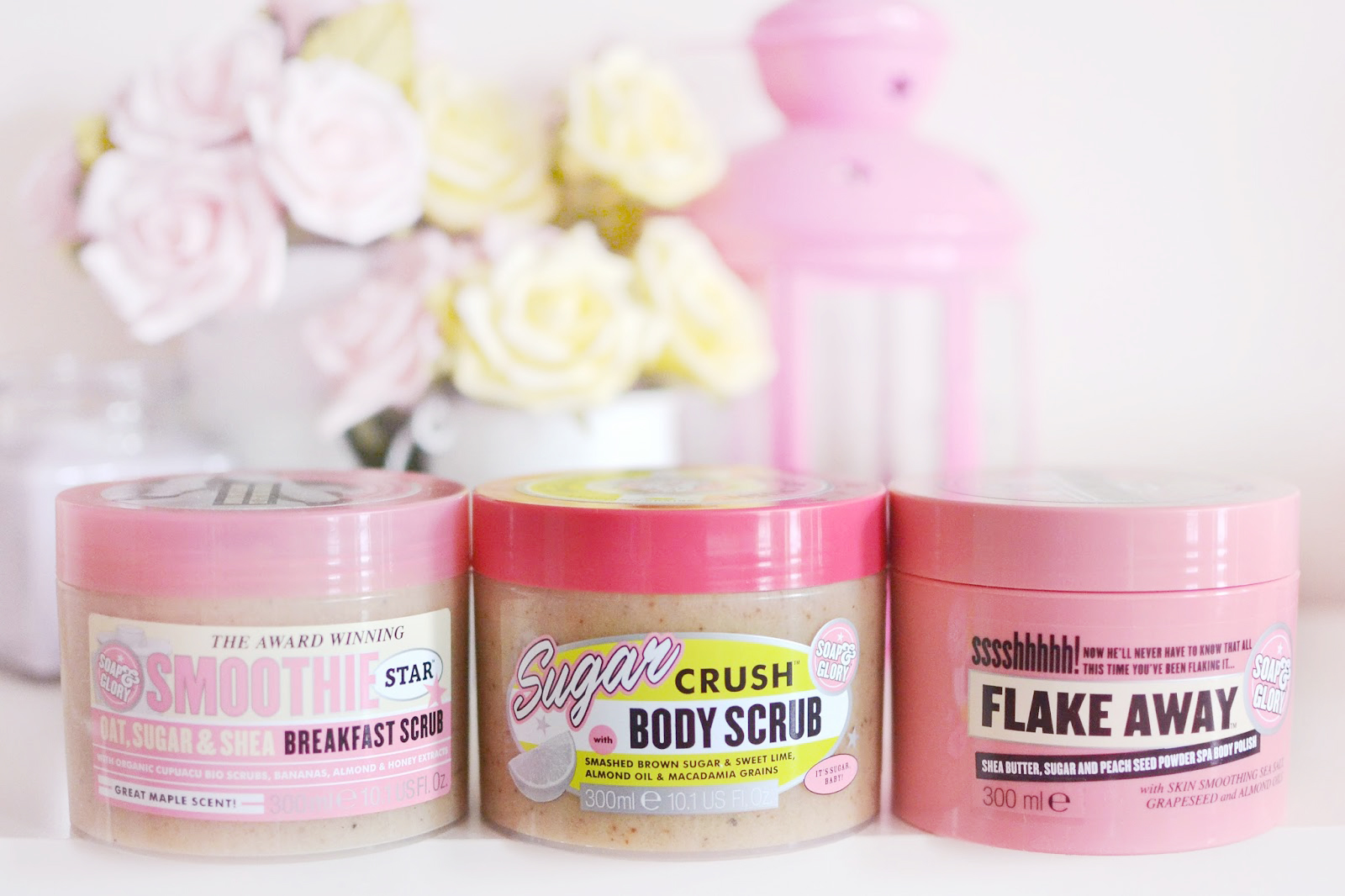 The best soap&glory body scrubs, sugar crush review, breakfast scrub review, flake away review