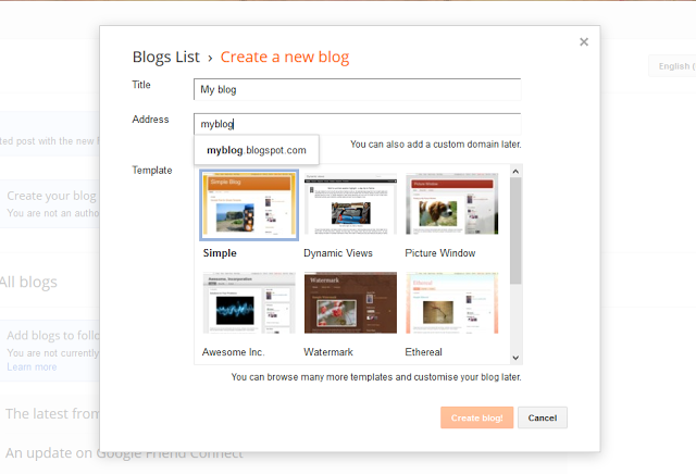 Select Blog URL on Blogger - Dots Created