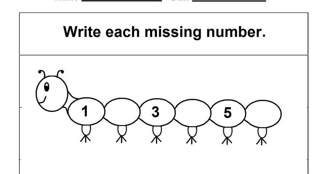 KINDERGARTEN WORKSHEET (MISSING NUMBERS) ~ Kindergarten
