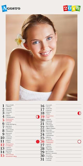 Calendario mensile 30x60 con indicazione del santo del giorno e lune