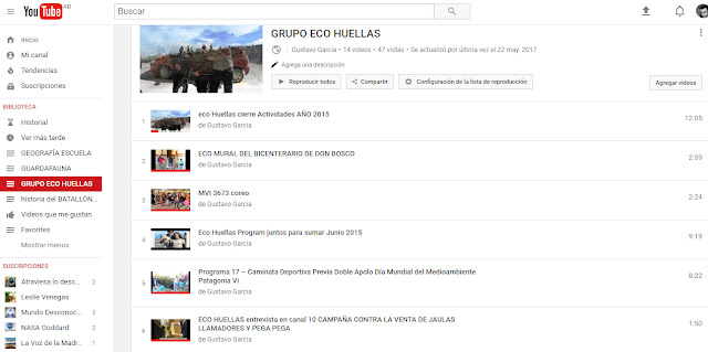 CANAL DE YOUTUBE DE ECO HUELLAS