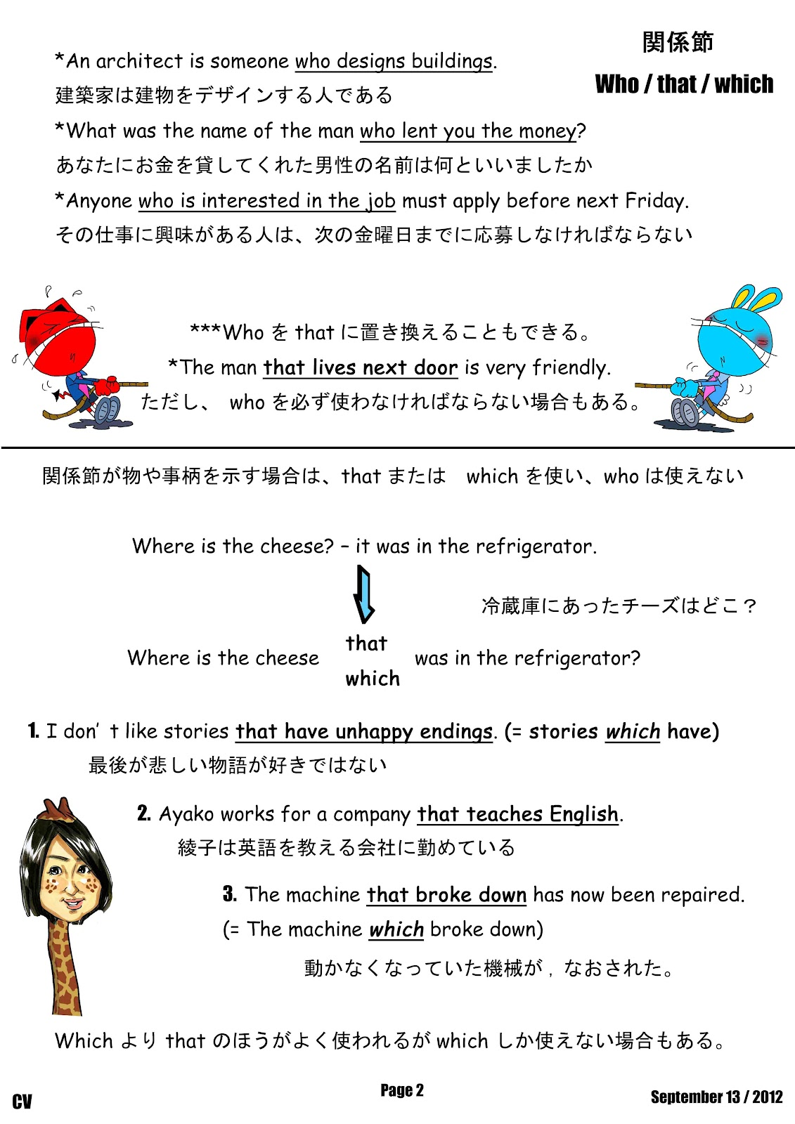 Canadian Voice English School Nagano Who That Which Relative Pronouns
