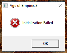 Message box Initialization Failed AoE III