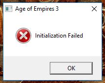 Message box Initialization Failed AoE III