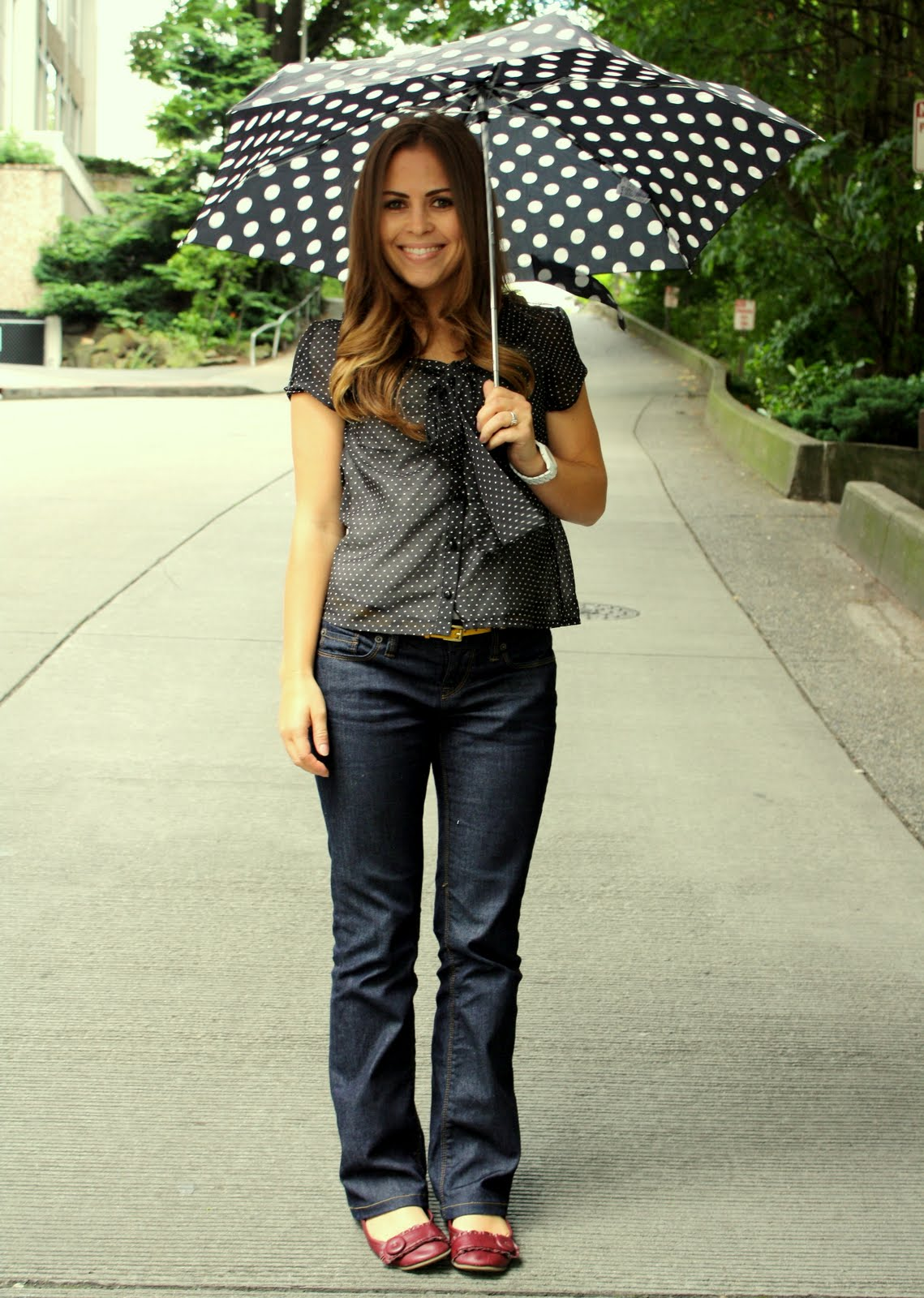 4c49fc2061 Jeans  The Loft. Polka Dot blouse  H M. Belt
