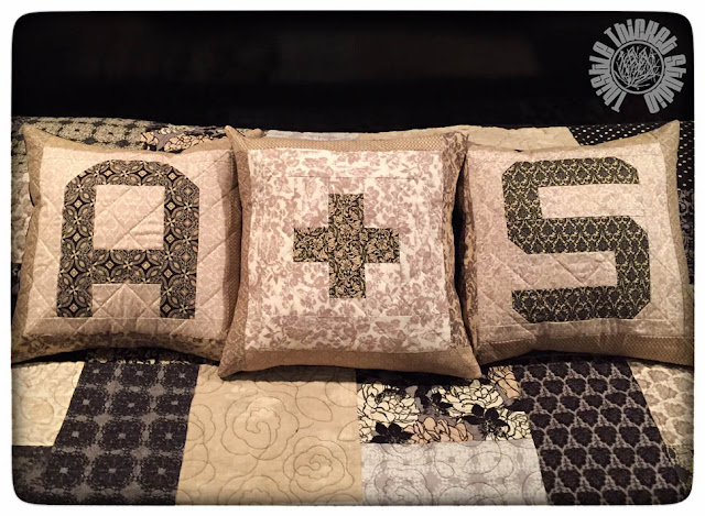 Spell It With Moda Fabric Monogram Pillows by Thistle Thicket Studio. www.thistlethicketstudio.com